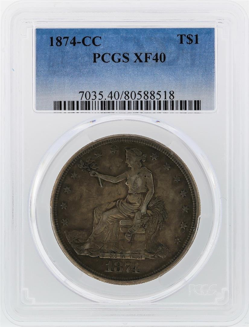 1874-CC $1 Silver Trade Dollar Coin PCGS XF40