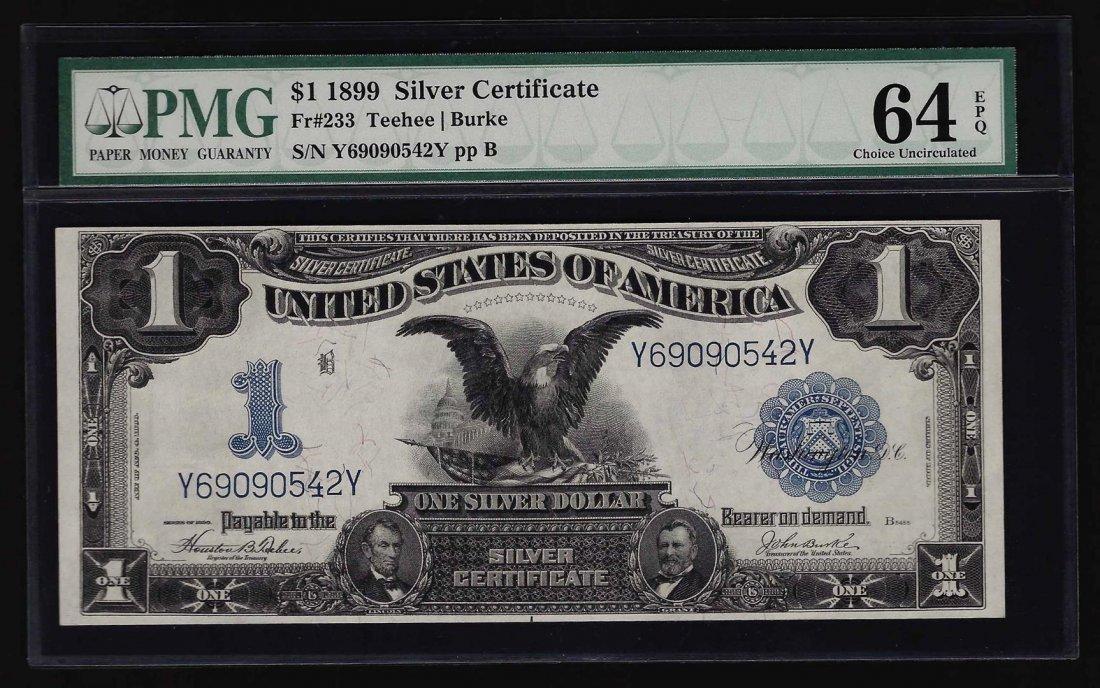 1899 $1 Black Eagle Silver Certificate PMG Graded CU64