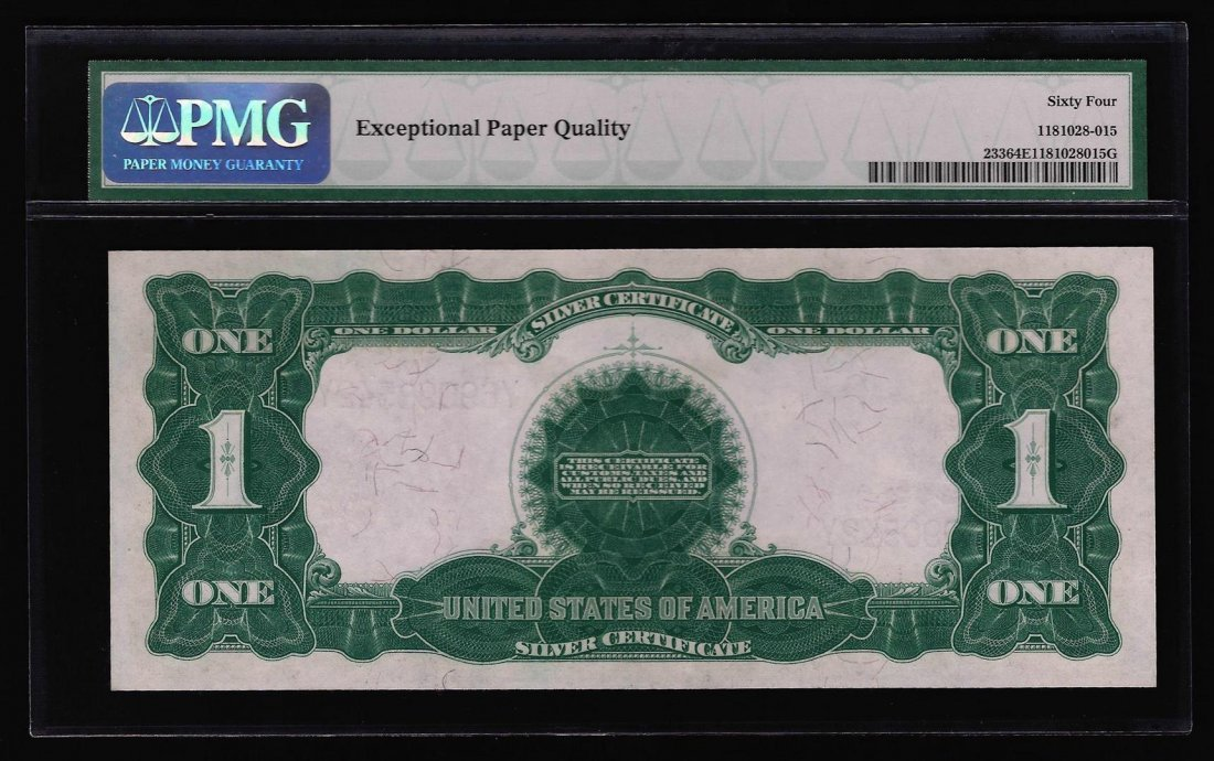 1899 $1 Black Eagle Silver Certificate PMG Graded CU64 - 2