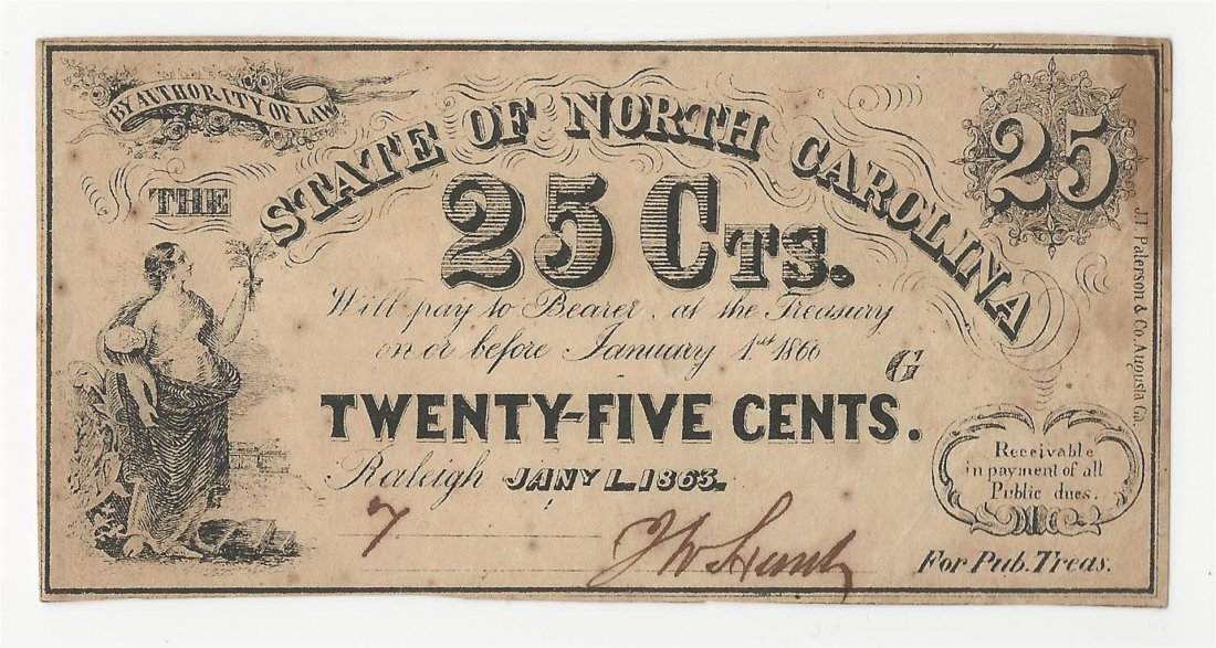 1863 25 Cents The State of North Carolina Obsolete Note