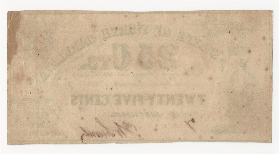 1863 25 Cents The State of North Carolina Obsolete Note - 2