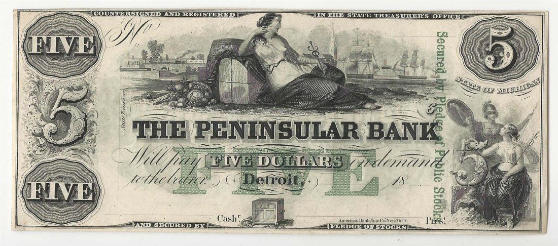 1800s $5 The Peninsular Bank Obsolete Note
