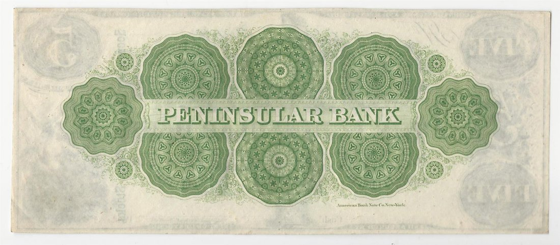 1800s $5 The Peninsular Bank Obsolete Note - 2
