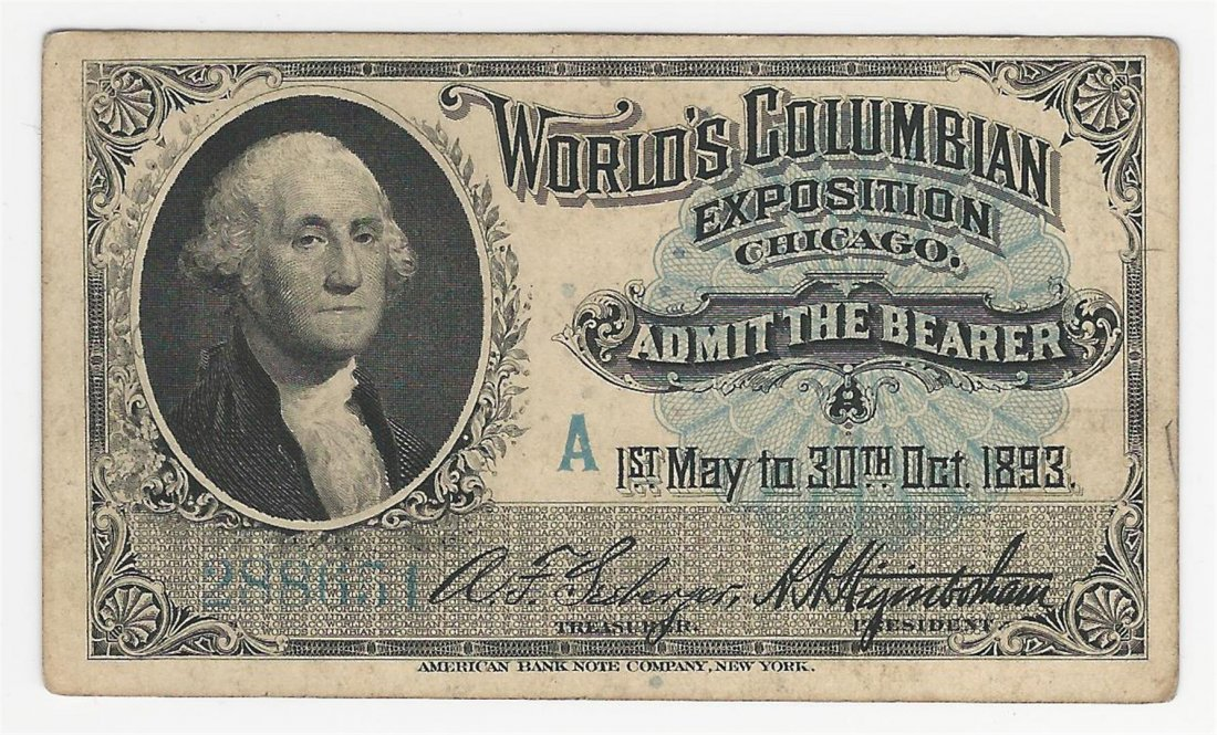 1893 World's Columbian Exposition Chicago Ticket