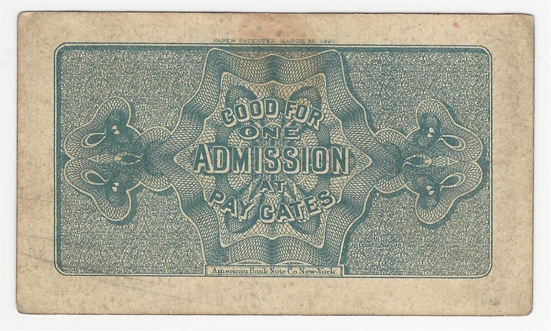 1893 World's Columbian Exposition Chicago Ticket - 2