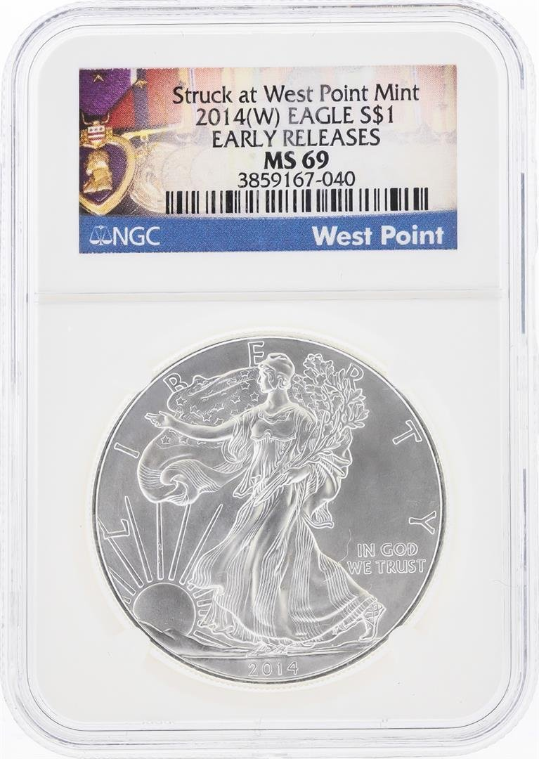 2014-W $1 American Silver Eagle Coin NGC Graded MS69