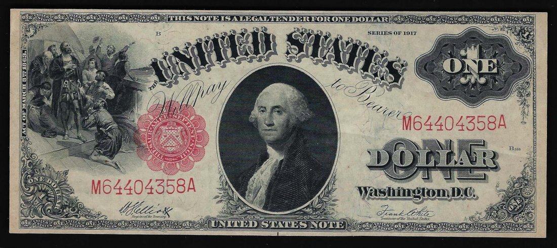 1917 $1 Large Series United States Legal Tender Note US