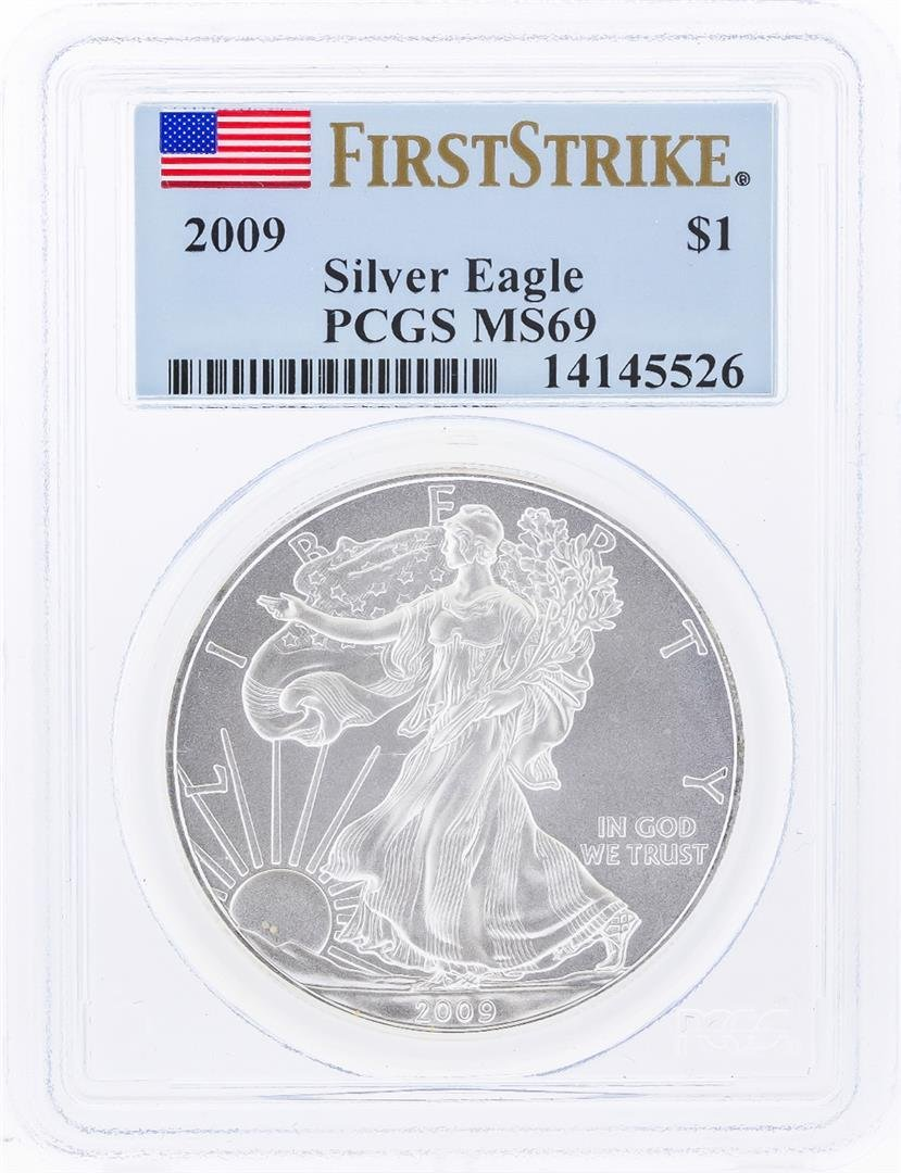 2009 $1 American Silver Eagle Coin PCGS Graded MS69