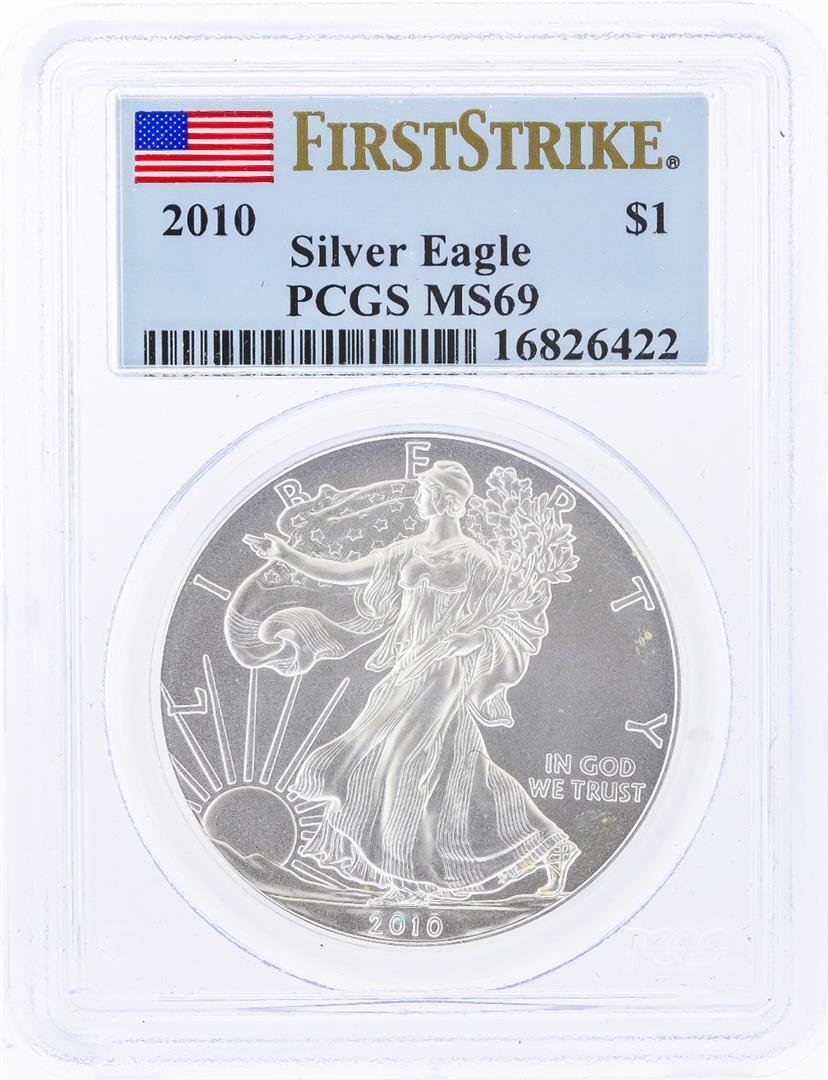 2010 $1 American Silver Eagle Coin PCGS Graded MS69