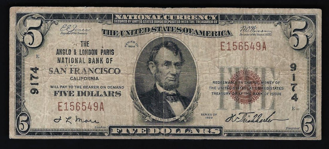 1929 $5 National Currency San Francisco CA Note