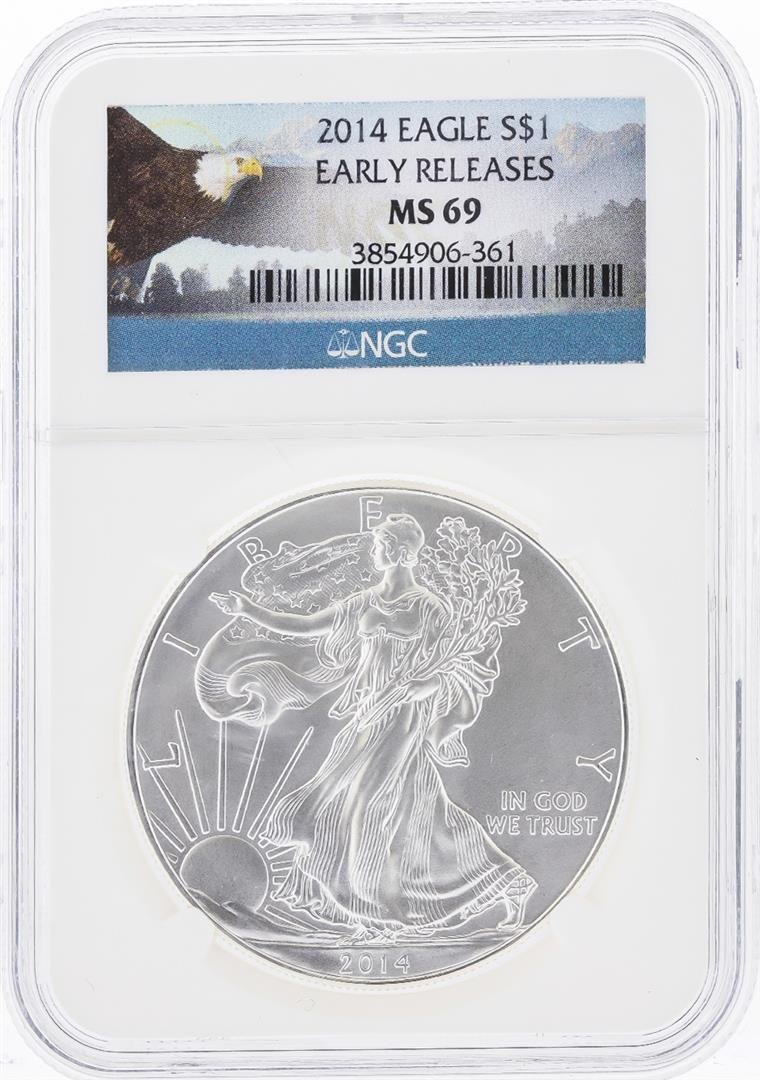 2014 $1 American Silver Eagle Coin NGC Graded MS69
