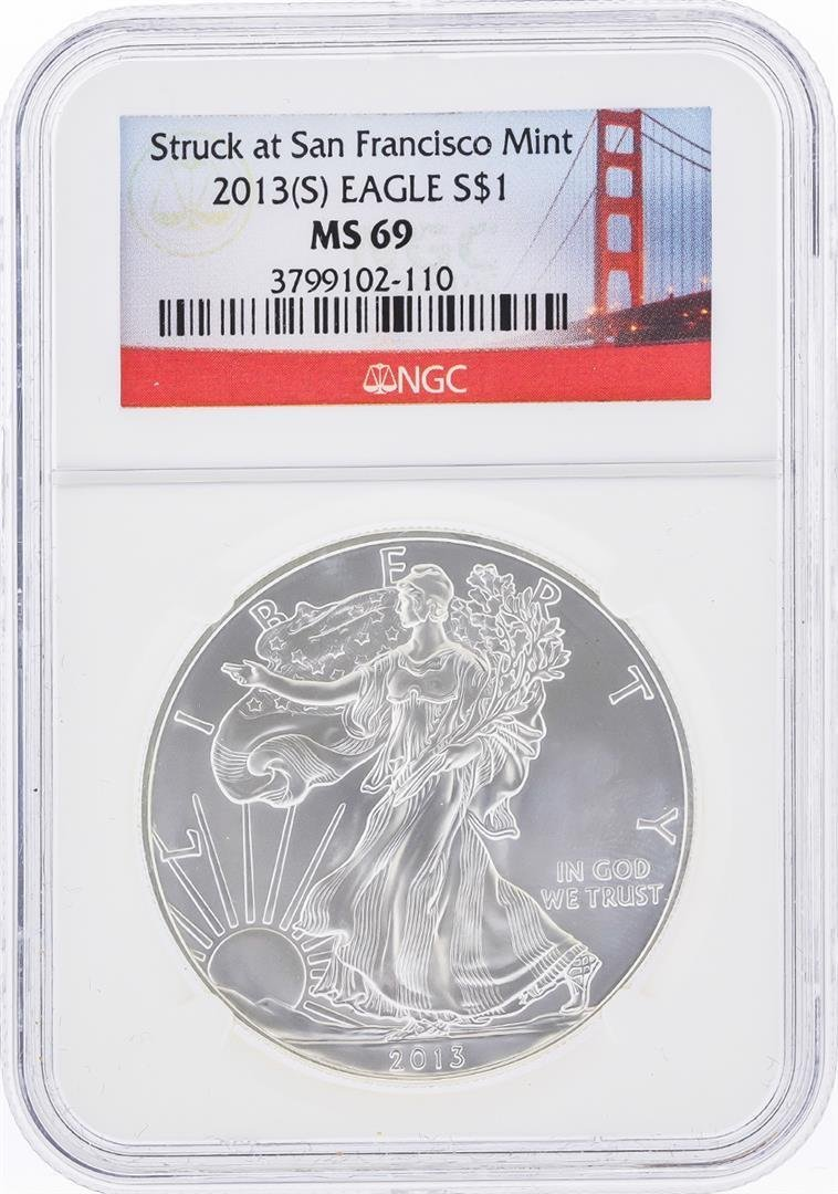 2013-S $1 American Silver Eagle Coin NGC Graded MS69