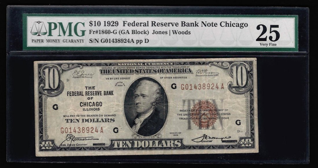 1929 $10 National Currency Chicago Bank Note PMG VF25
