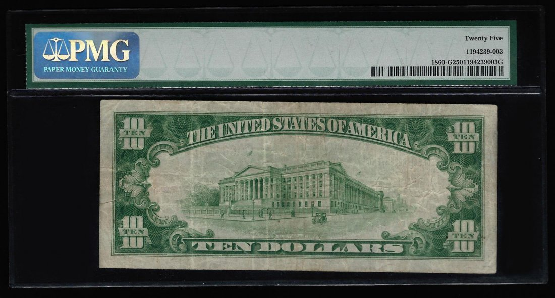 1929 $10 National Currency Chicago Bank Note PMG VF25 - 2