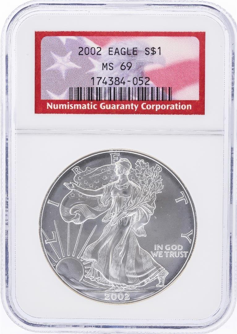 2002 $1 American Silver Eagle Coin NGC Graded MS69