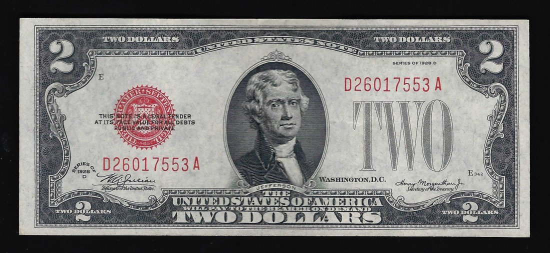 1928-D $2 Red Seal Legal Tender Bank Note