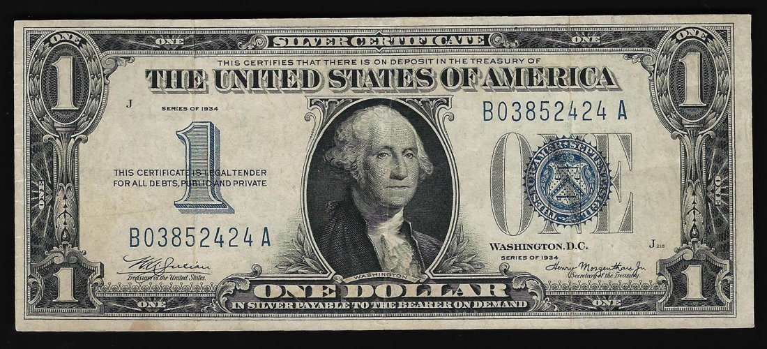 1934 $1 Silver Certificate Bank Note