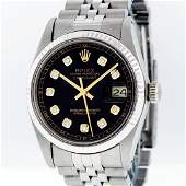 Rolex Stainless Steel Black Diamond and White Gold