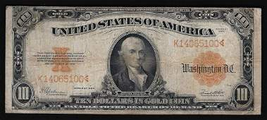1922 $10 Large Gold Certificate Note