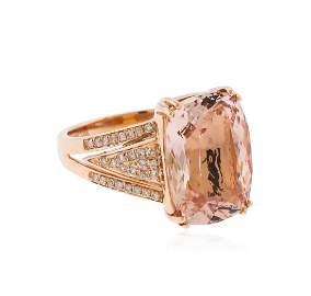 14KT Rose Gold 8.14ct. Morganite and Diamond Ring
