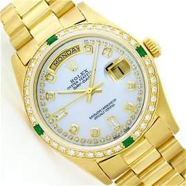 Mens Rolex 18K Yellow Gold Diamond And Emerald