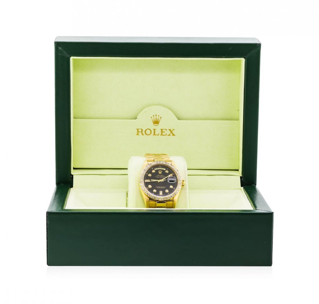 Mens 18KT Yellow Gold Rolex President Watch with - 5