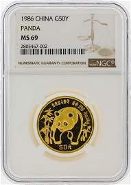 1986 50 Yuan China Gold Panda Coin NGC MS69