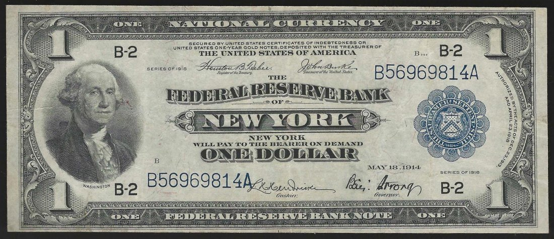 1918 $1 Federal Reserve Bank of New York, New York