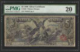1896 $5 Silver Certificate Educational Note PMG Graded