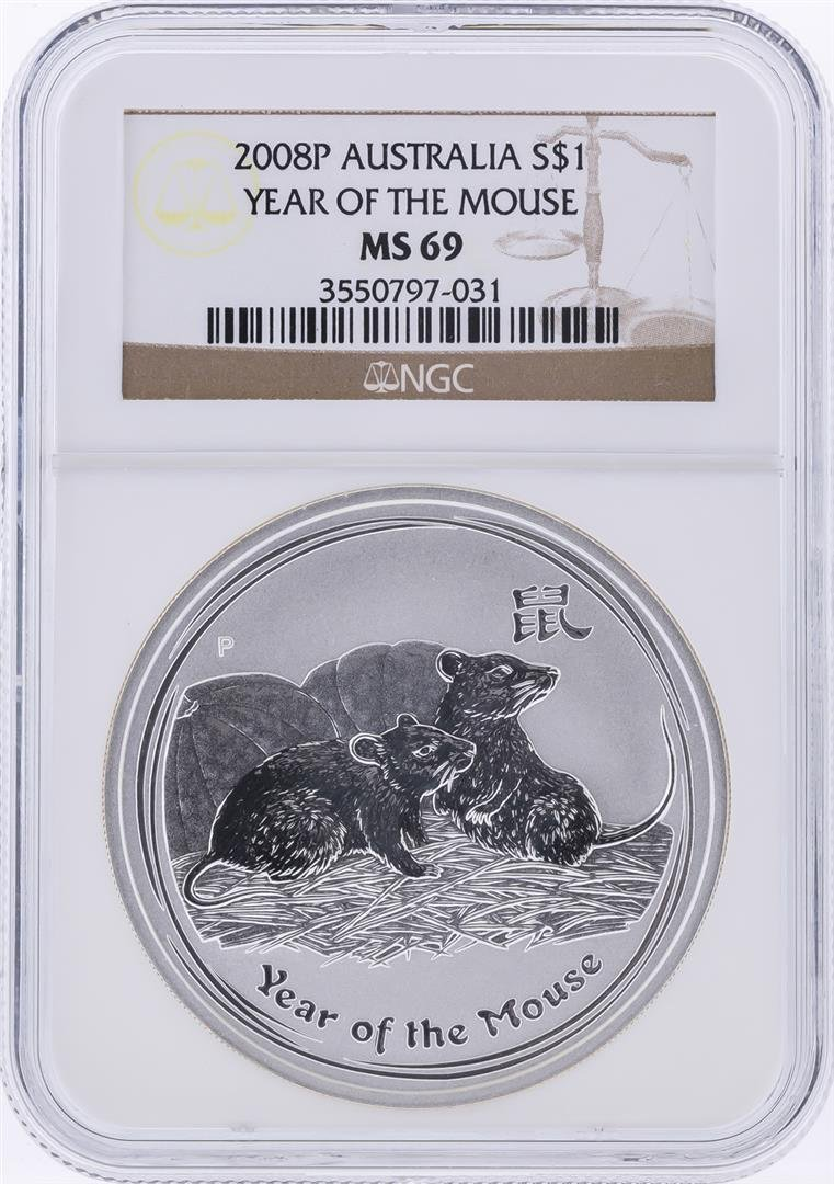 2008-P $1 Australia Year of the Mouse Silver Coin PCGS
