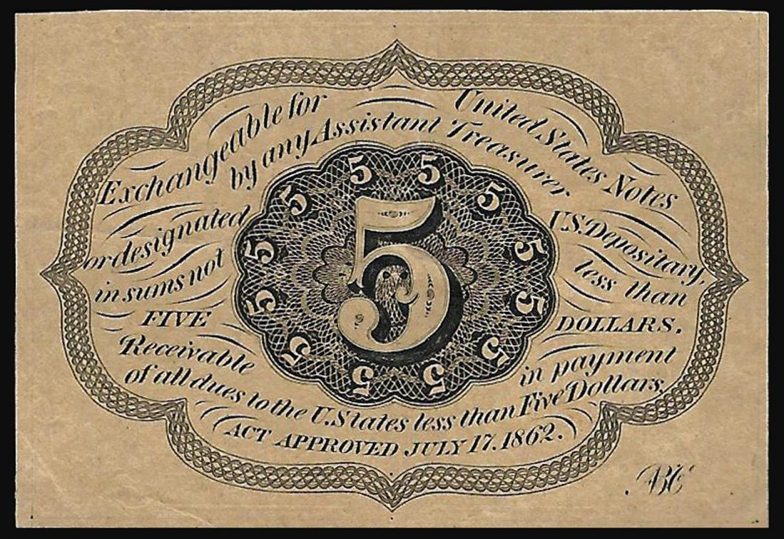 1862 5 Cent 1st Issue Fractional Note - 2