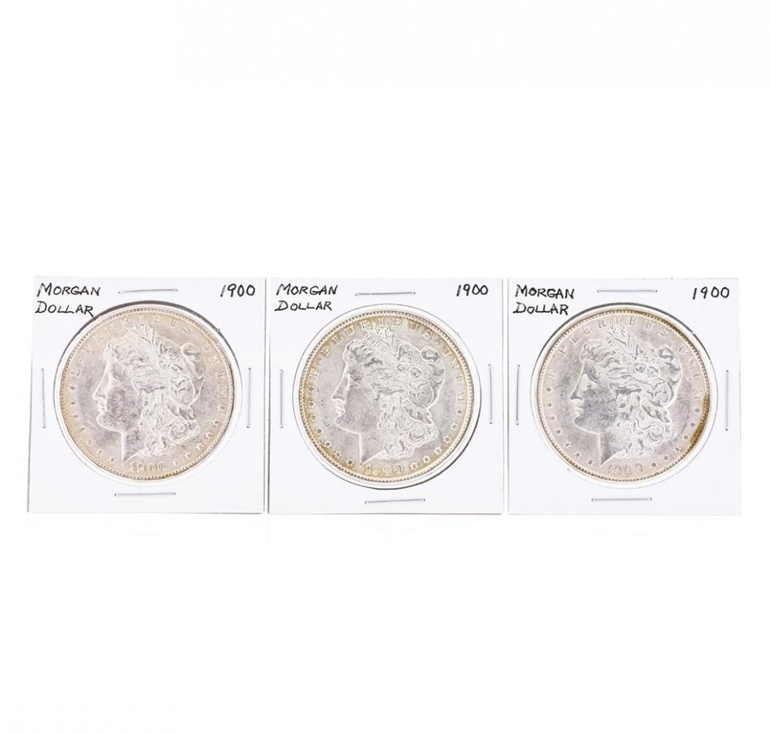 Set of (3) 1900 $1 Morgan Silver Dollar Coins