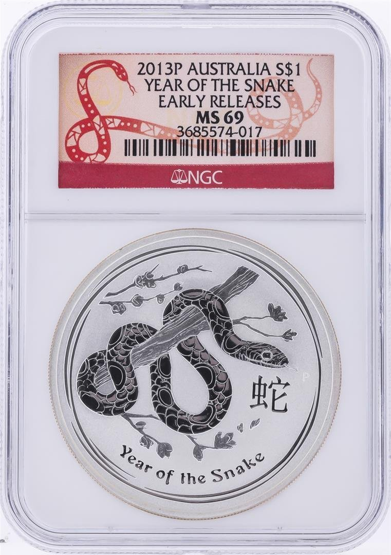 2013-P $1 Australia Year of the Snake Silver Coin NGC