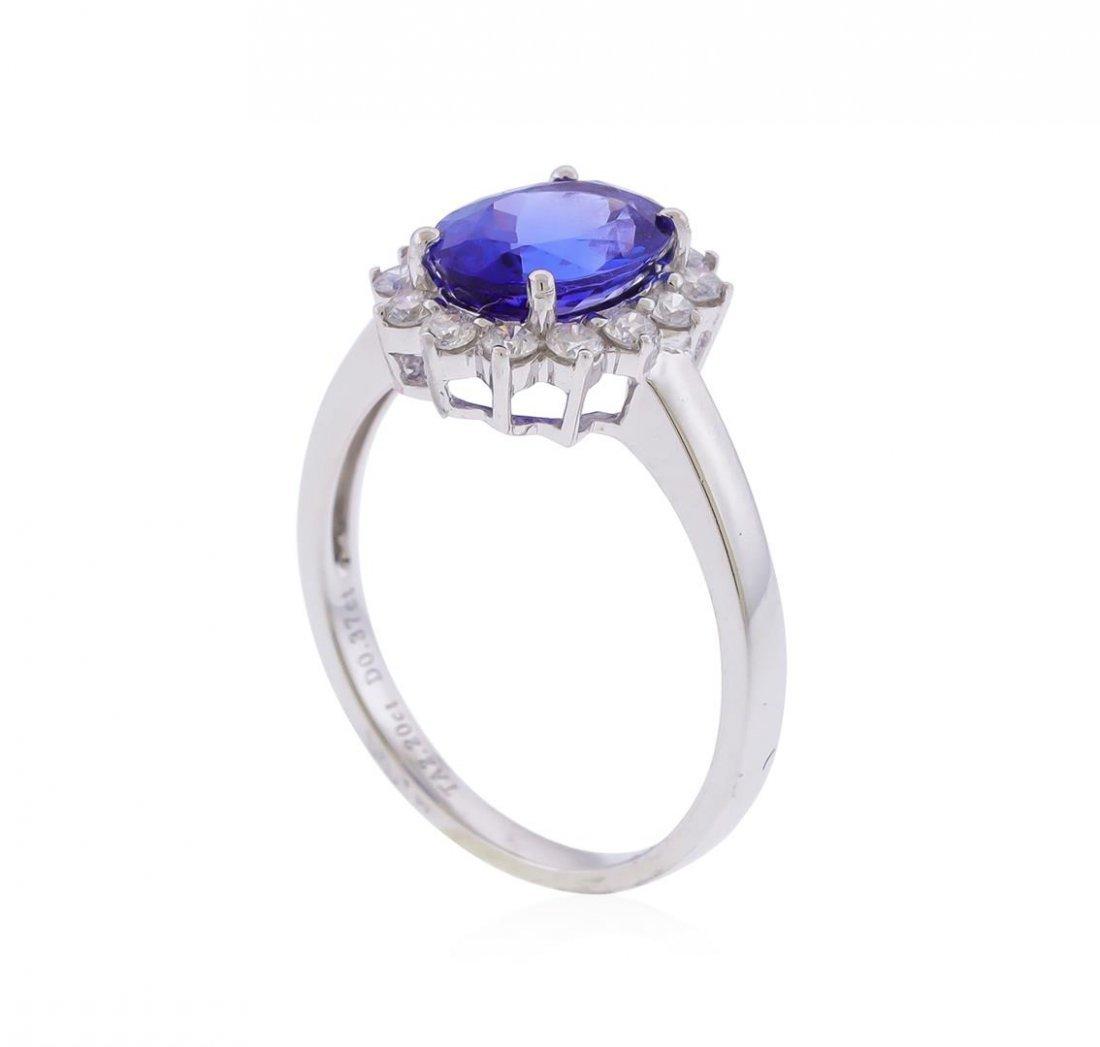 14KT White Gold 2.20ct. Tanzanite and Diamond Ring - 3