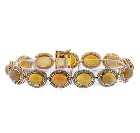 14KT Yellow Gold 17.96ctw Opal and Diamond Bracelet