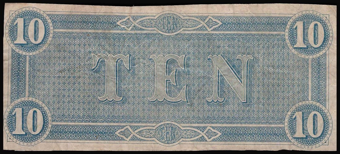 1864 $10 The Confederate States of America Note - 2