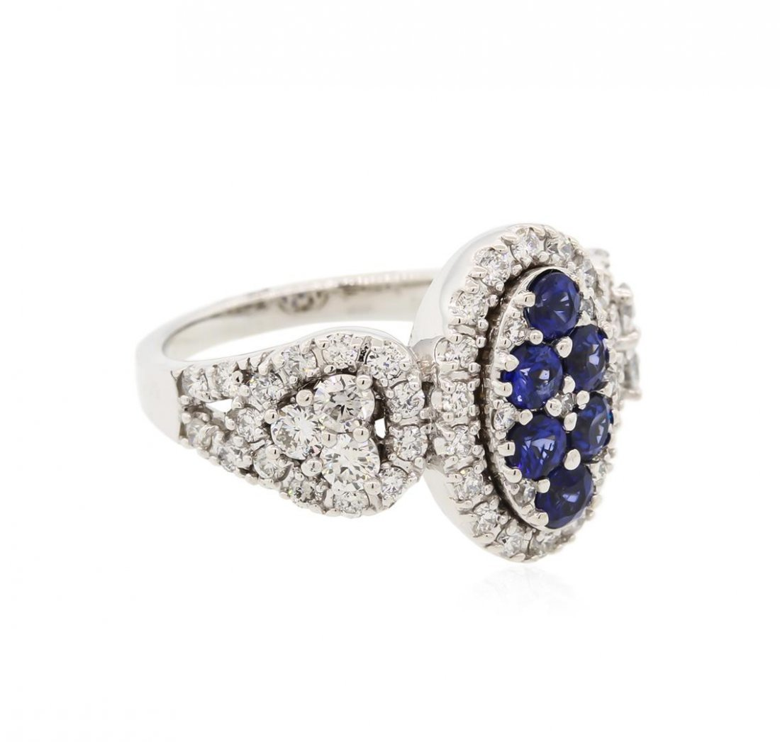 14KT White Gold 0.80ctw Sapphire and Diamond Ring