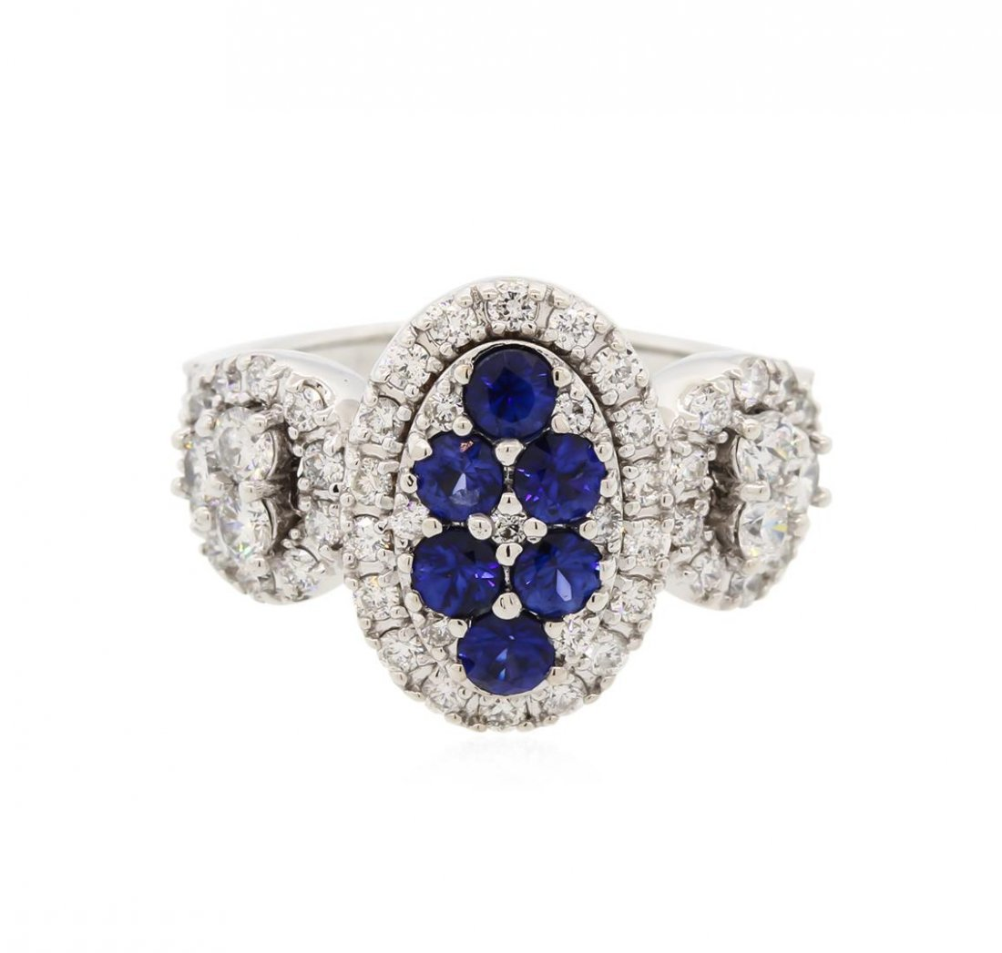 14KT White Gold 0.80ctw Sapphire and Diamond Ring - 2