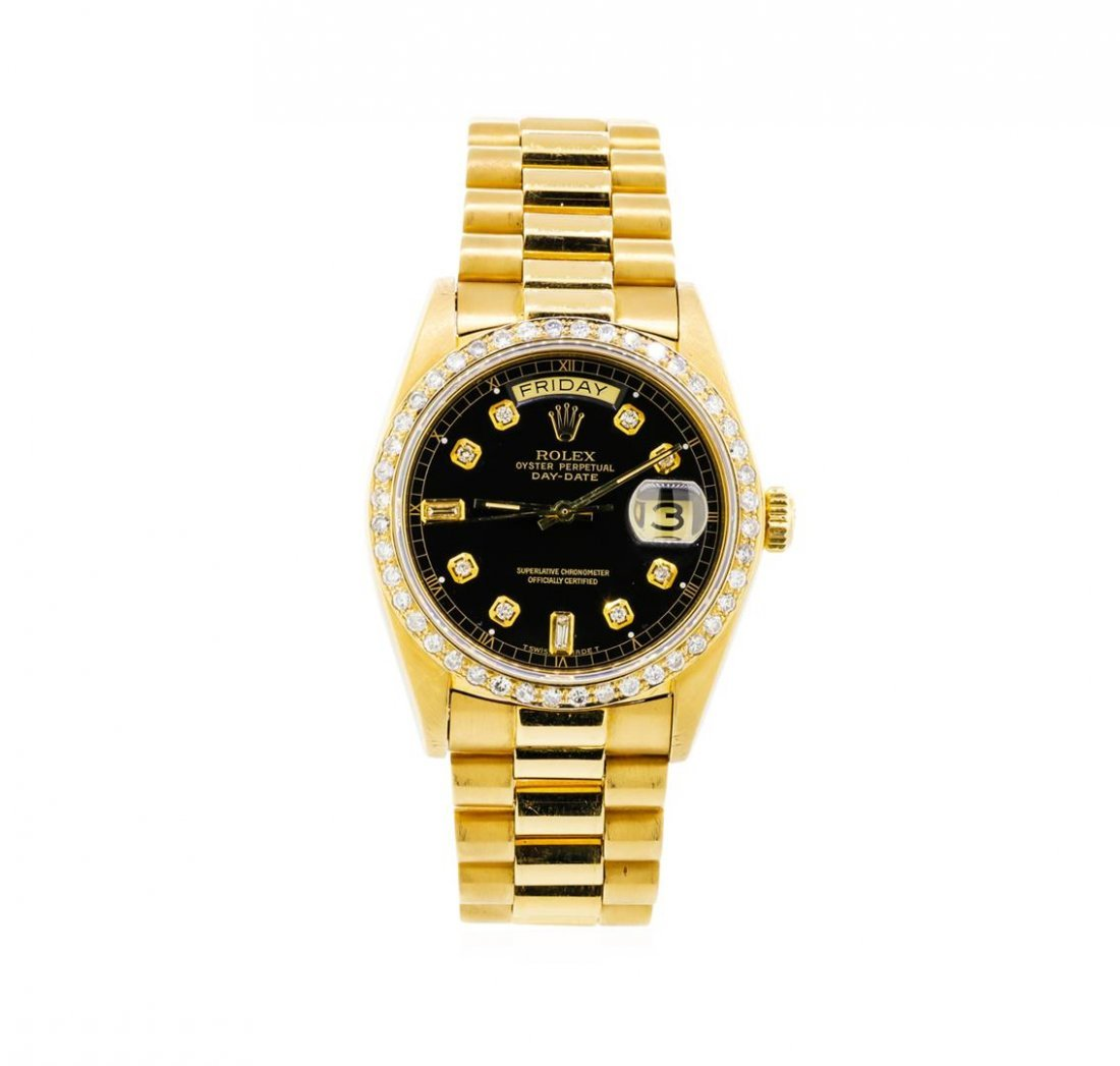 Mens 18KT Yellow Gold Rolex President Watch with