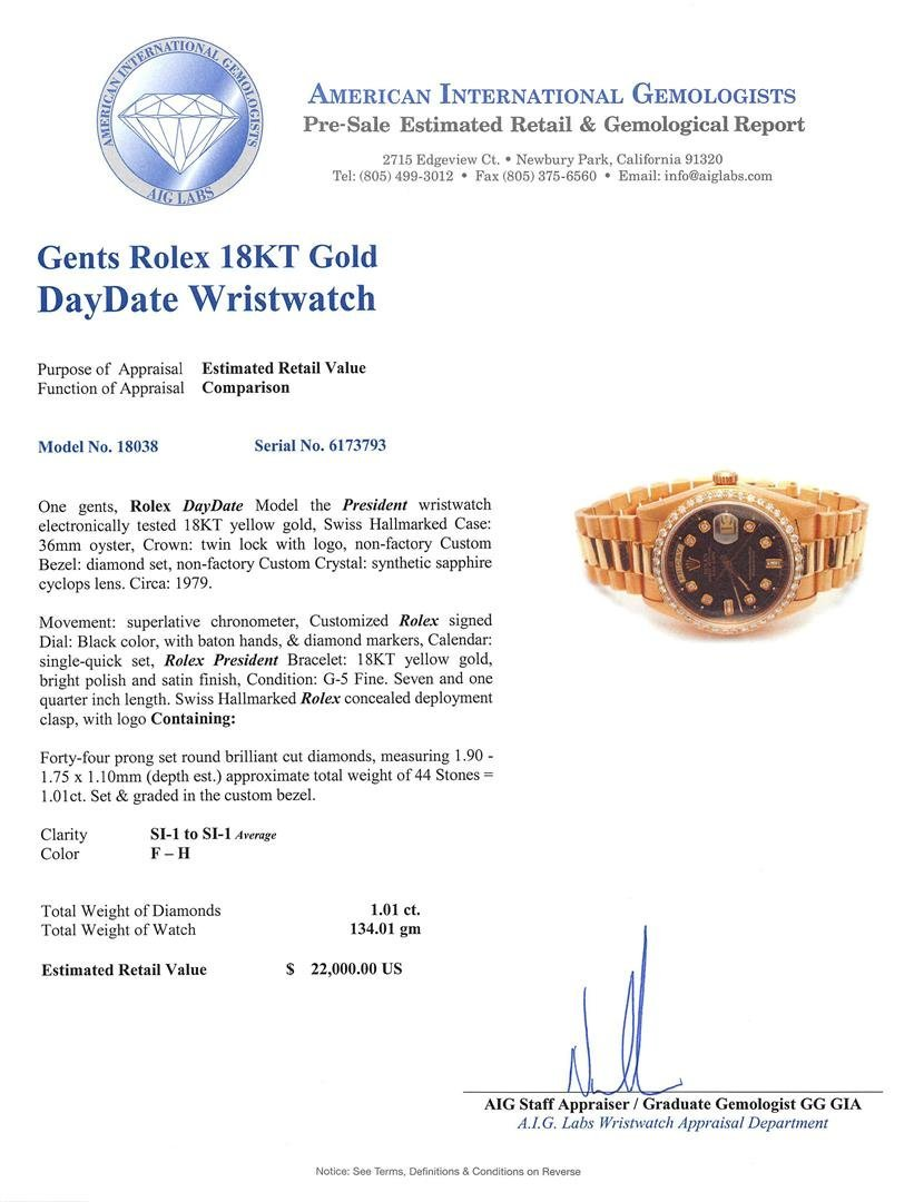 Mens 18KT Yellow Gold Rolex President Watch with - 6