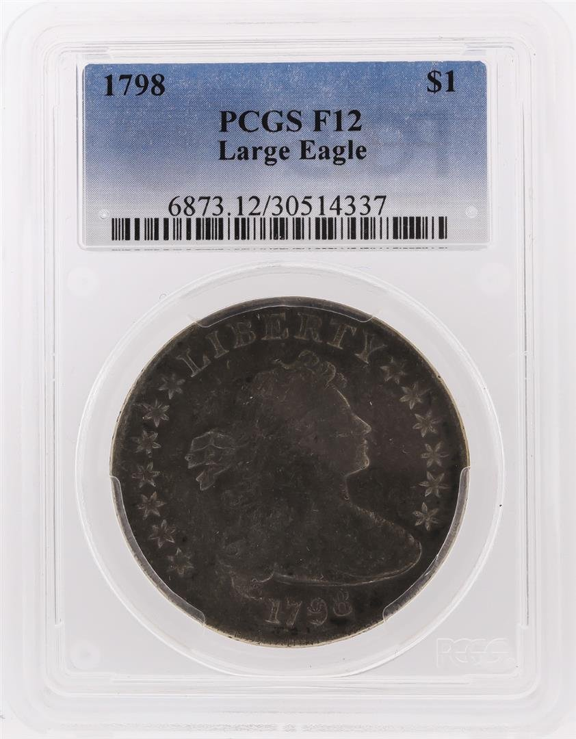 1798 $1 Draped Bust Large Eagle Silver Dollar Coin PCGS