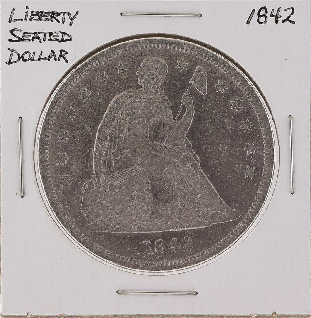 1842 $1 Silver Liberty Seated Dollar Coin