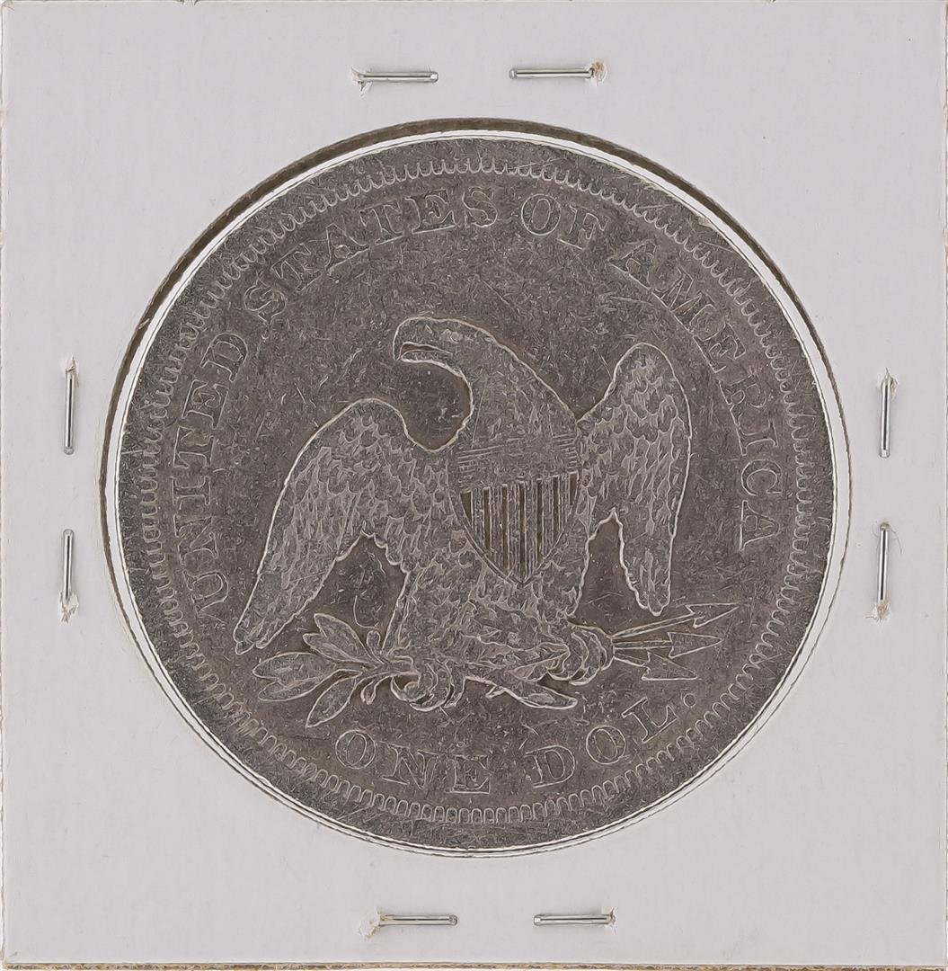 1842 $1 Silver Liberty Seated Dollar Coin - 2
