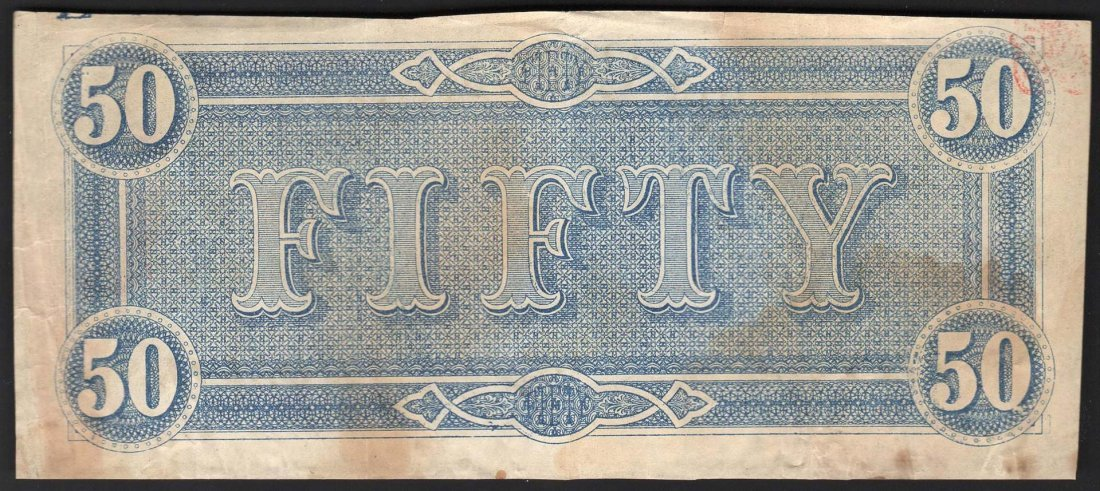 1864 $50 The Confederate States of America Note - 2