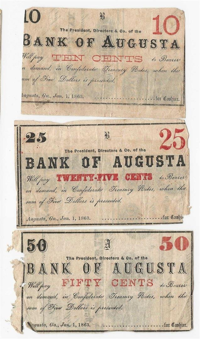 Lot of 1863 10/25/50 Cent Bank of Augusta Fractional