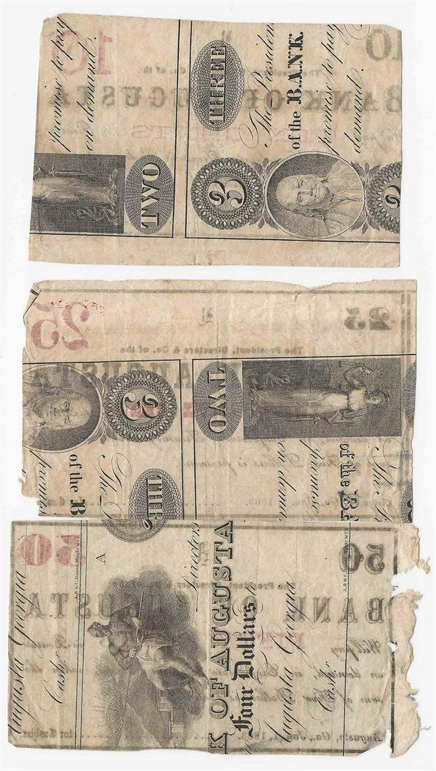 Lot of 1863 10/25/50 Cent Bank of Augusta Fractional - 2