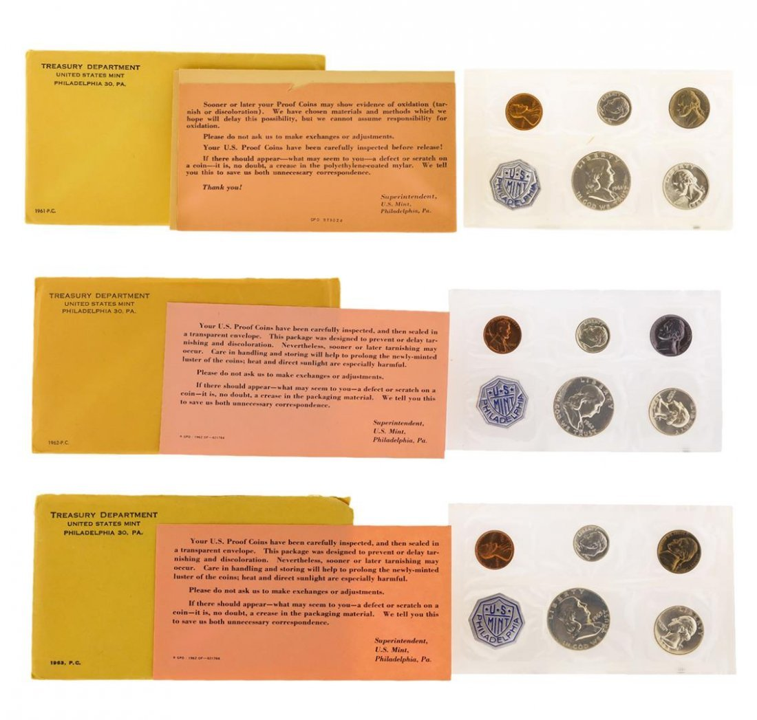 1961-1963 (6) Coin Proof Sets