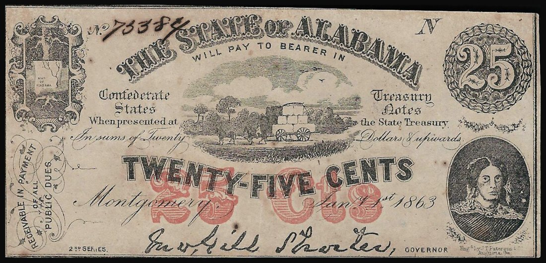 1863 Twenty-Five Cents The State of Alabama Obsolete