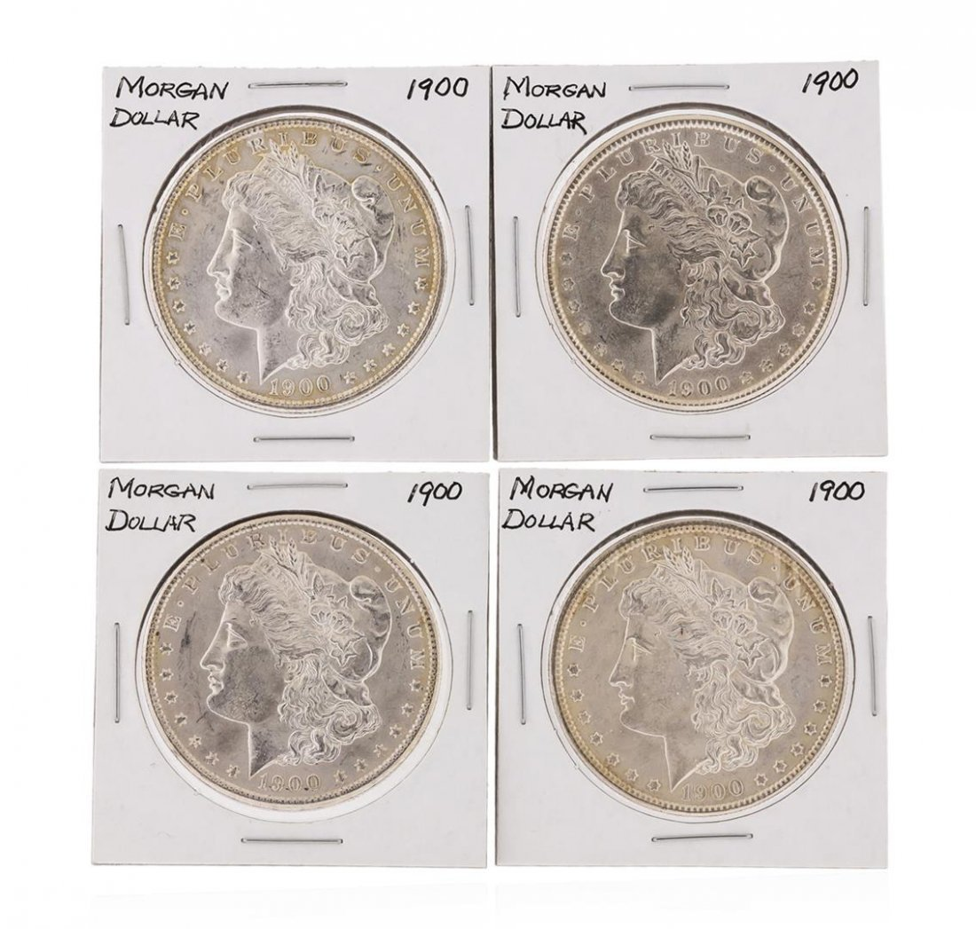 Set of (4) 1900 $1 Morgan Silver Dollar Coins