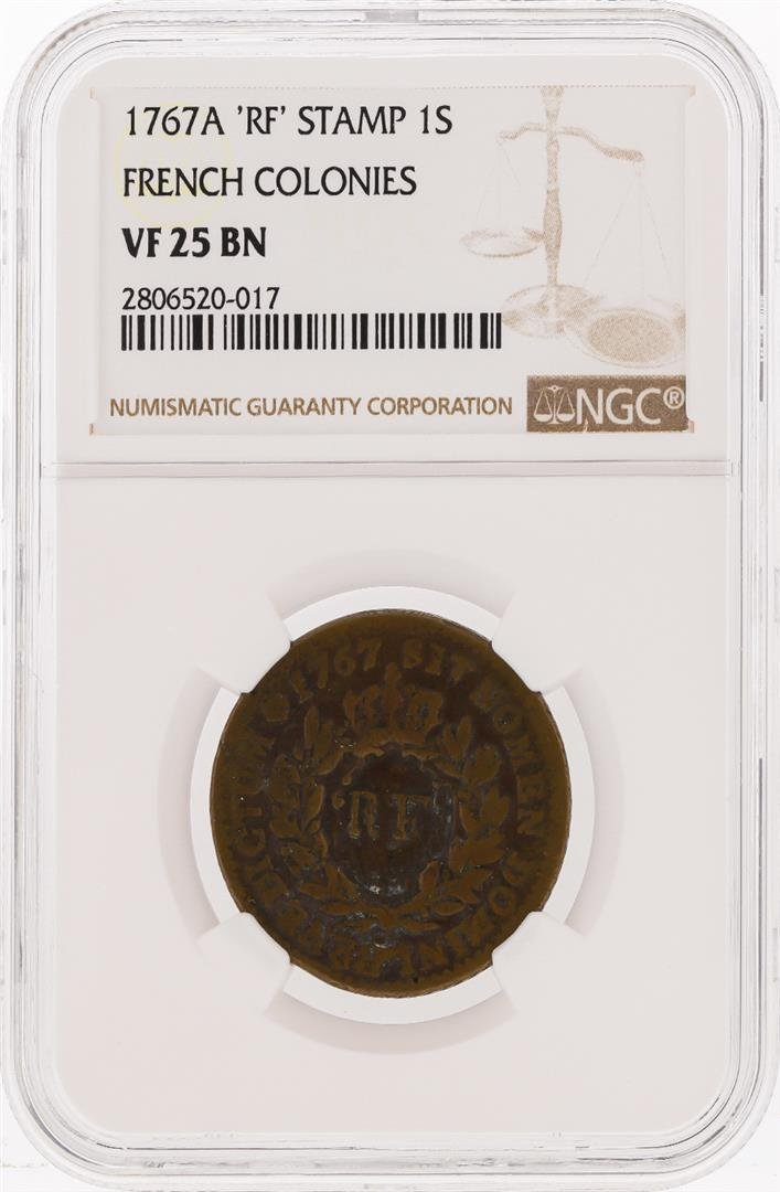 1767A 1 SOU 'RF' Stamp French Colonies Coin NGC VF25 BN